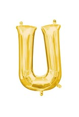 """Air-Filled Letter """"U""""- Gold 16"""" Balloon (Will Not Float)"""