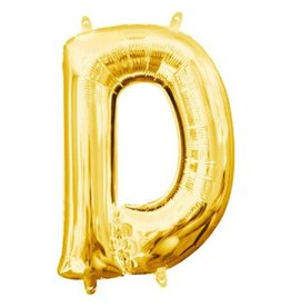 "Air-Filled Letter ""D""- Gold 16"" Balloon (Will Not Float)"