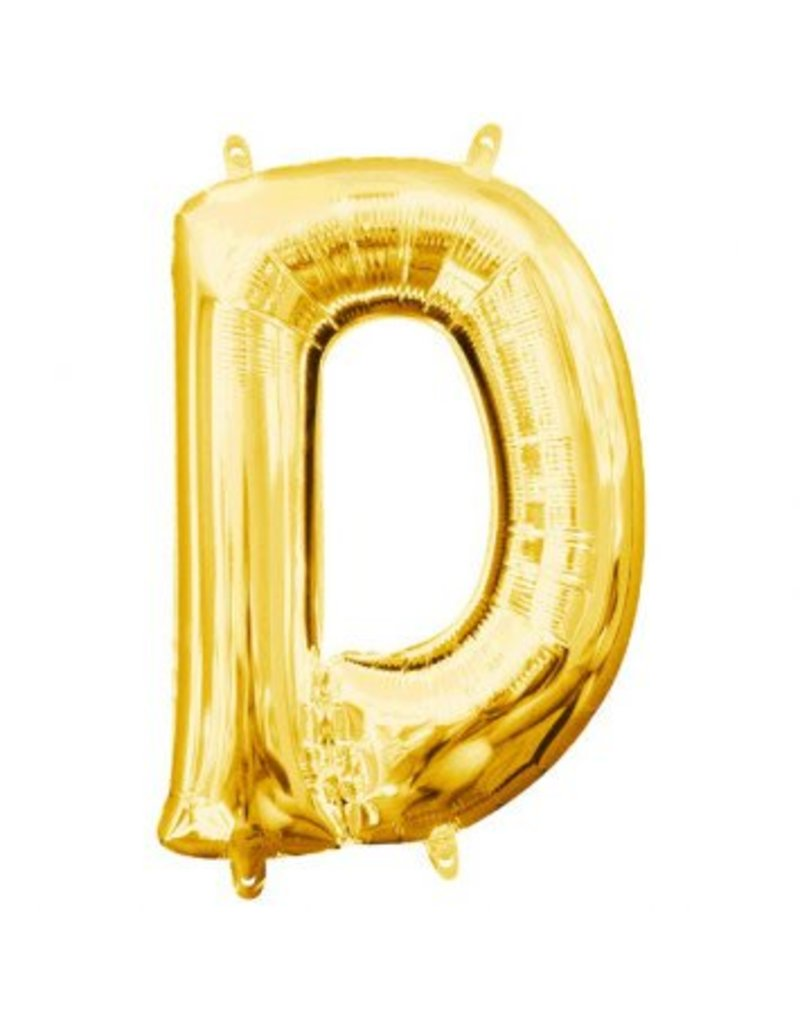 """Air-Filled Letter """"D""""- Gold 16"""" Balloon (Will Not Float)"""