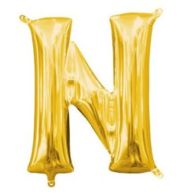 "Air-Filled Letter ""N""- Gold Balloon (Will Not Float)"