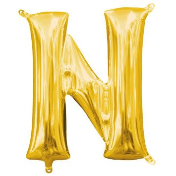 """Air-Filled Letter """"N""""- Gold Balloon (Will Not Float)"""