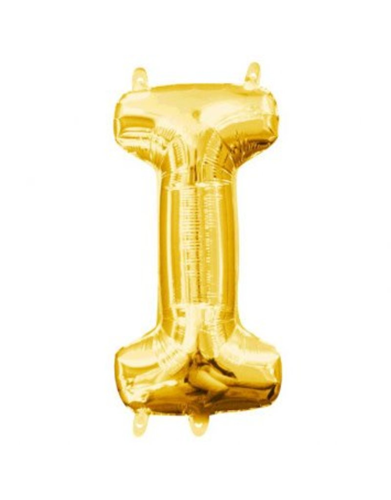 "Air-Filled Letter ""I""- Gold 16"" Balloon (Will Not Float)"