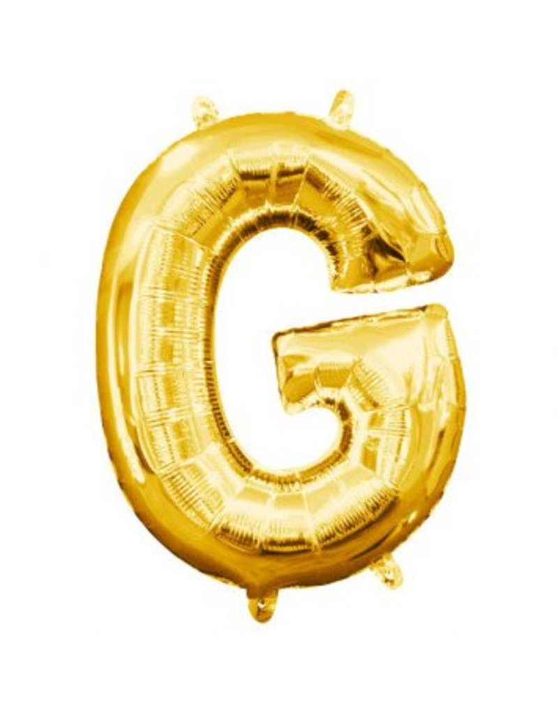 """Air-Filled Letter """"G""""- Gold 16"""" Balloon (Will Not Float)"""