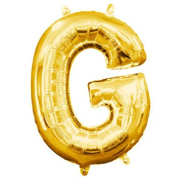 "Air-Filled Letter ""G""- Gold 16"" Balloon (Will Not Float)"