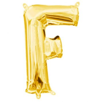 "Air-Filled Letter ""F""- Gold 16"" Balloon (Will Not Float)"