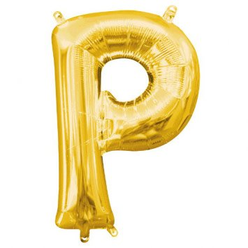 """Air-Filled Letter """"P""""- Gold 16"""" Balloon (Will Not Float)"""