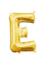 "Air-Filled Letter ""E""- Gold 16"" Balloon (Will Not Float)"