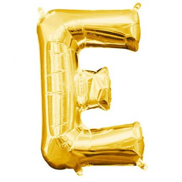 """Air-Filled Letter """"E""""- Gold 16"""" Balloon (Will Not Float)"""