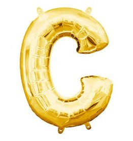 """Air-Filled Letter """"C""""- Gold 16"""" Balloon (Will Not Float)"""