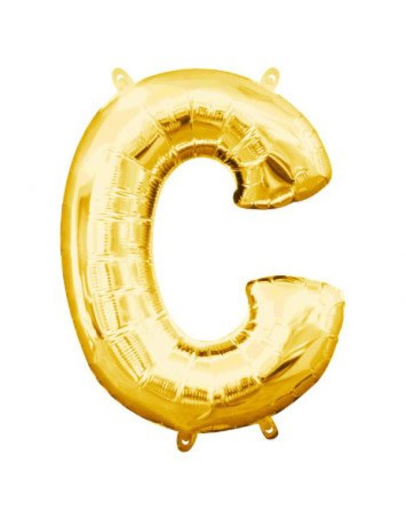 "Air-Filled Letter ""C""- Gold 16"" Balloon (Will Not Float)"