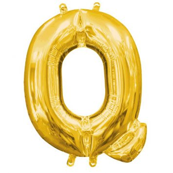 """Air-Filled Letter """"Q""""- Gold 16"""" Balloon (Will Not Float)"""