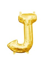 "Air-Filled Letter ""J""- Gold 16"" Balloon (Will Not Float)"