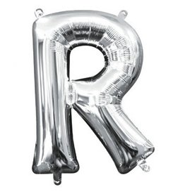"""Air-Filled Letter """"R""""- Silver Balloon (Will Not Float)"""