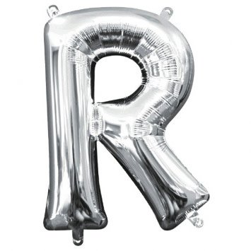 "Air-Filled Letter ""R""- Silver Balloon (Will Not Float)"