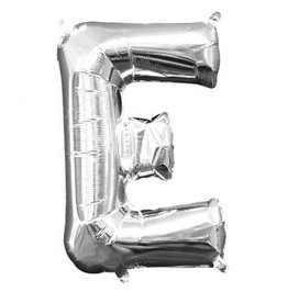 """Air-Filled Letter """"E""""- Silver Balloon"""