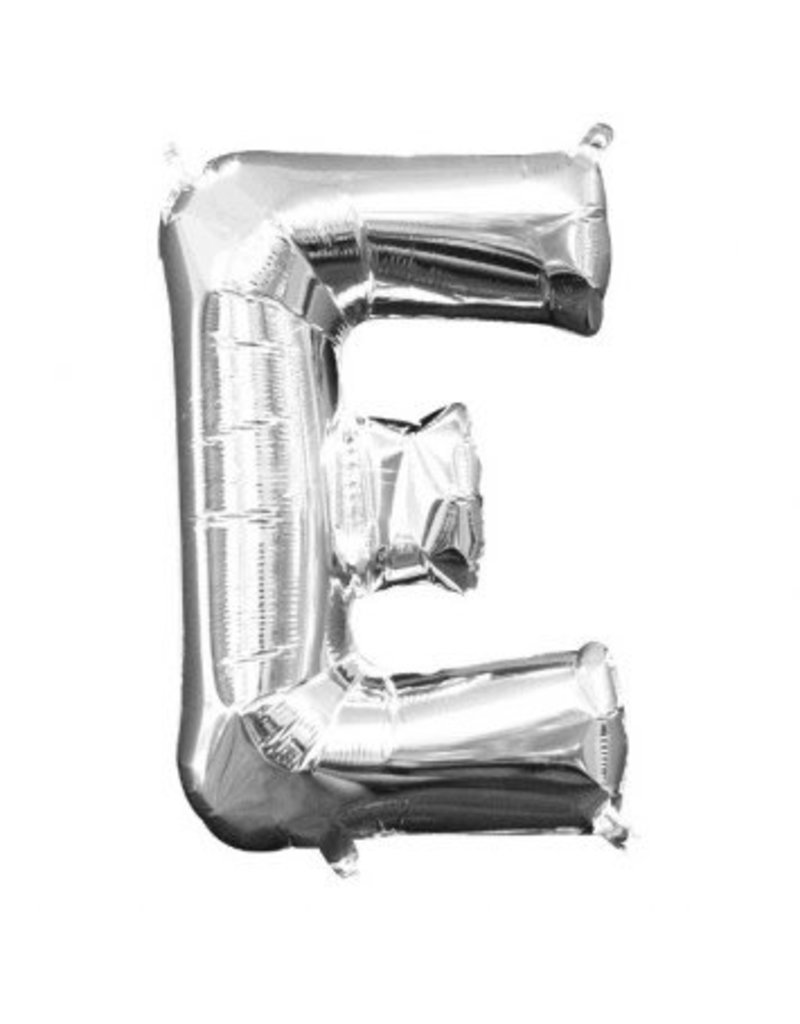 "Air-Filled Letter ""E""- Silver Balloon (Will Not Float)"