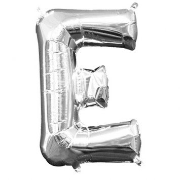 """Air-Filled Letter """"E""""- Silver Balloon (Will Not Float)"""