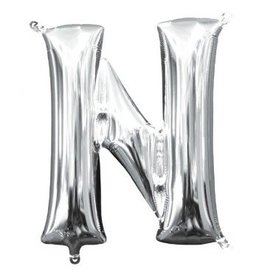 """Air-Filled Letter """"N""""- Silver Balloon (Will Not Float)"""
