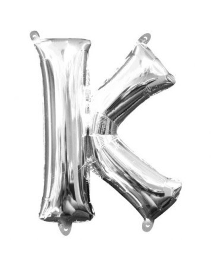 """Air-Filled Letter """"K""""- Silver Balloon (Will Not Float)"""