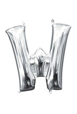 """Air-Filled Letter """"W""""- Silver Balloon (Will Not Float)"""