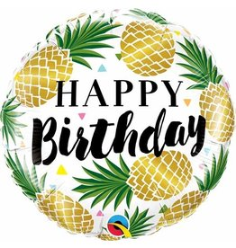"Golden Pineapple Birthday 18"" Mylar Balloon"