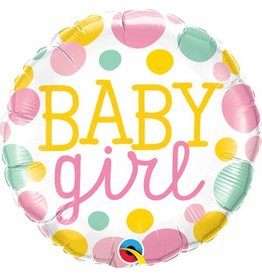 "Baby Girl Dots 18"" Mylar Balloon"