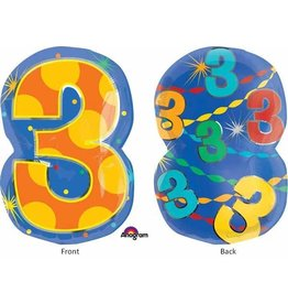 "#3 Multicolour Shape 18"" Mylar Balloon"