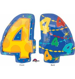 "#4 Multicolour Shape 18"" Mylar Balloon"