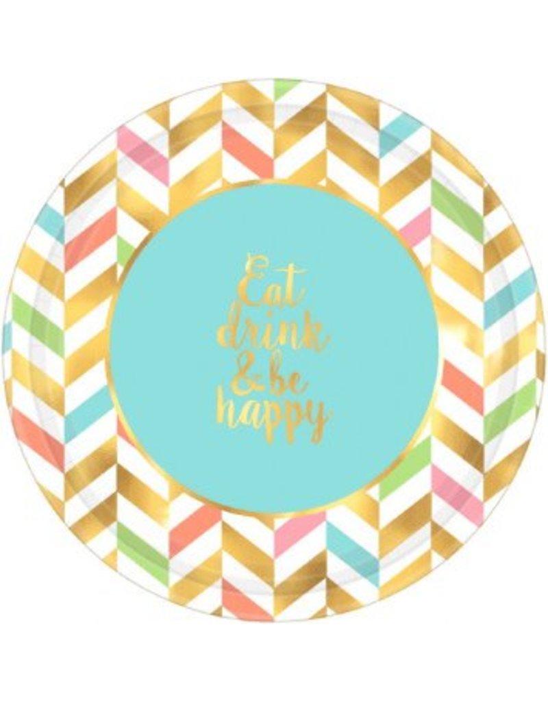 "Eat, Drink & Be Happy! Metallic Round Plates, 10 1/2"" (8)"