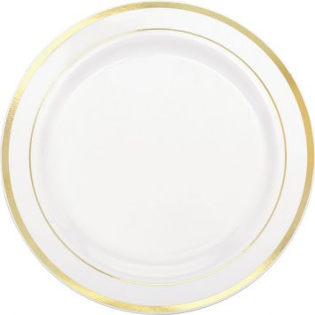 White Premium Plastic Round Plates with Gold Trim, 10 1/4""