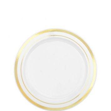 """White Premium Plastic Round Plates with Gold Trim 6 1/4"""" (20)"""