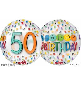 "50th Birthday Rainbow 22"" Bubble Balloon"