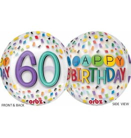"60th Birthday Rainbow 22"" Bubble Balloon"