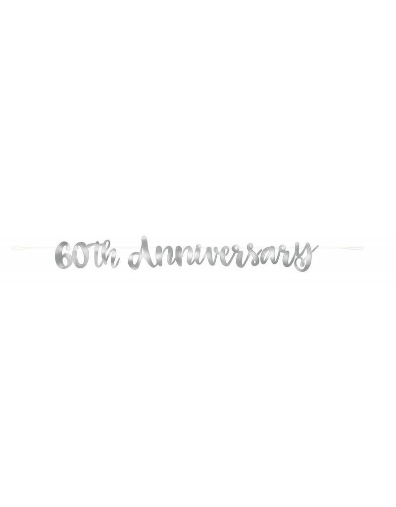 60th Anniversary Script Banner Silver