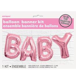 Baby Balloon Banner Pink