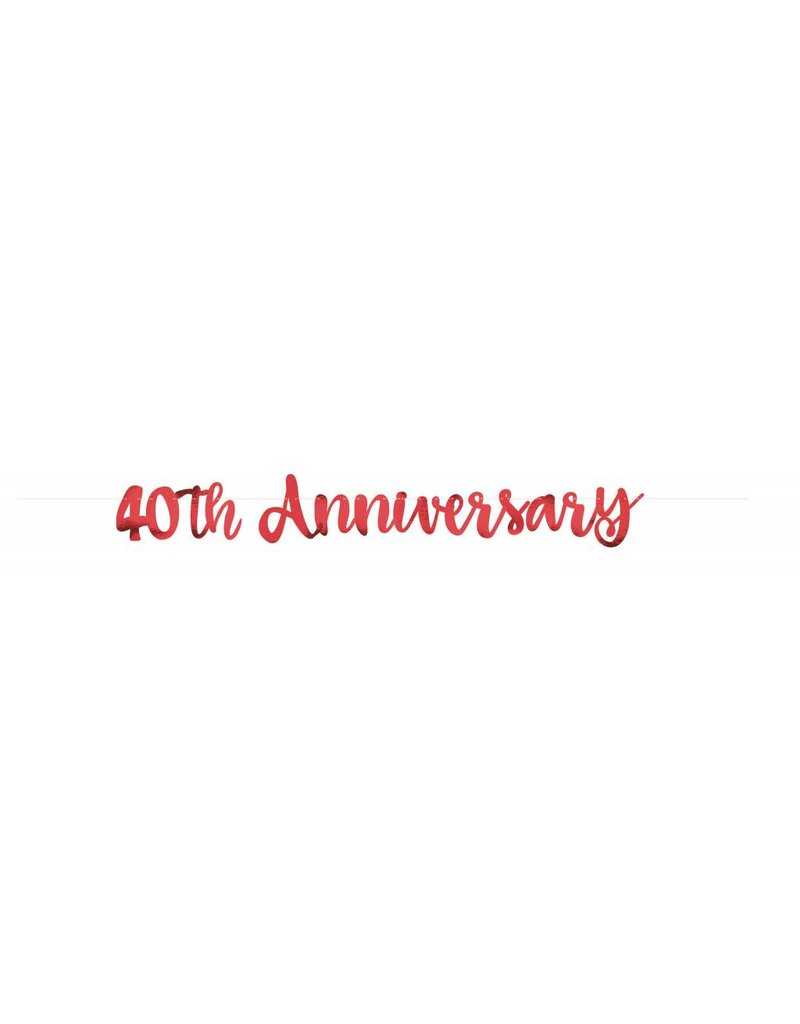 40th Anniversary Script Banner Red