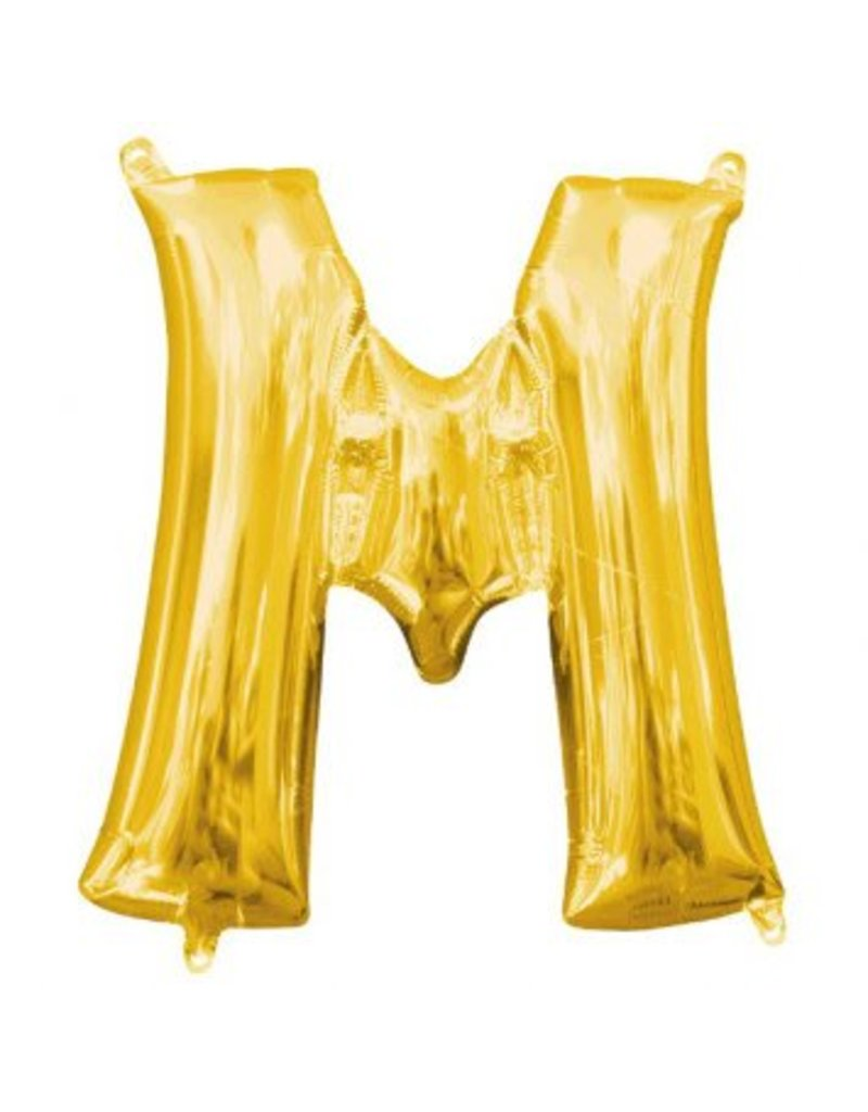 "Air-Filled Letter ""M""- Gold Balloon (Will Not Float)"