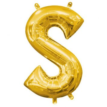 """Air-Filled Letter """"S""""- Gold Balloon (Will Not Float)"""