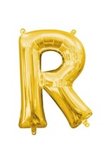 "Air-Filled Letter ""R""- Gold Balloon (Will Not Float)"