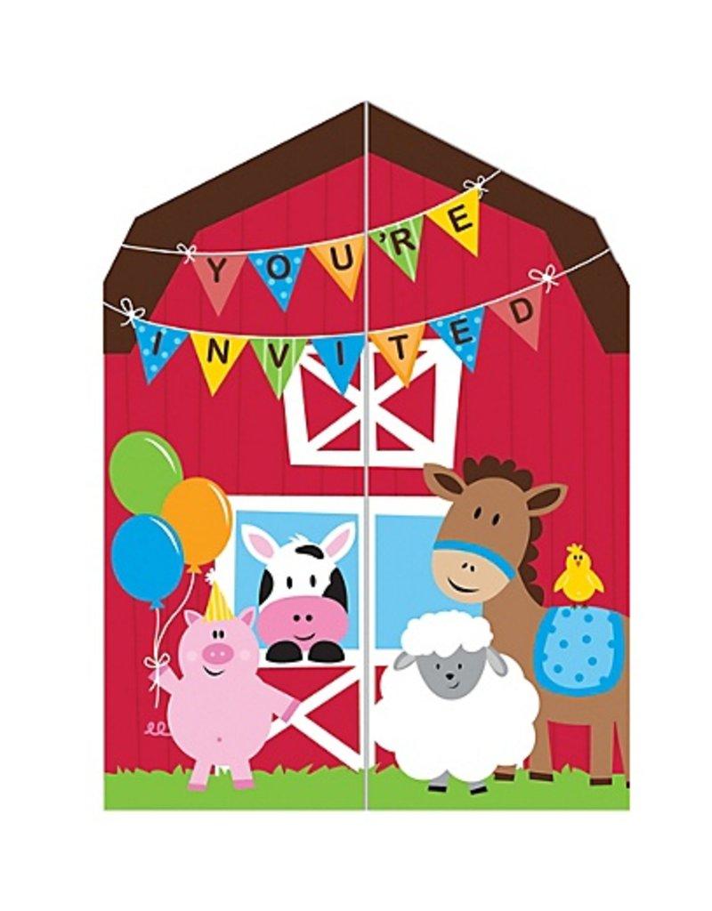 FarmHouse Fun Party Invitations (8)