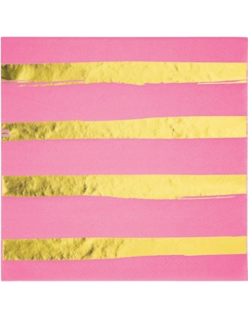 Candy Pink Foil Stamped Luncheon Napkins (16)