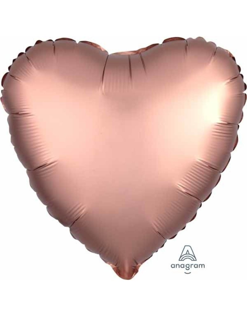 "Rose Copper Satin Heart 18"" Mylar Balloon"