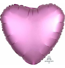 "Flamingo Satin Luxe Heart 18"" Mylar Balloon"