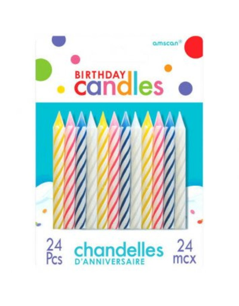 Assorted Candy Stripe Spiral Candles (24)