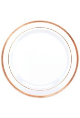 "Premium Plastic White Plates w/ Rose Gold Trim, 10 1/4"" (10)"