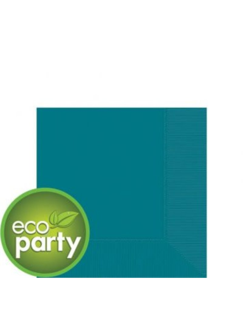 Eco Party Peacock Blue Beverage Napkins, 3-Ply, (50)