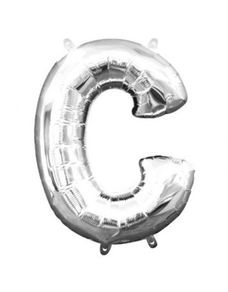 """Air-Filled Letter """"C""""- Silver Balloon (Will Not Float)"""