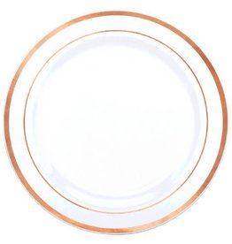 "Premium Plastic White Plates w/ Rose Gold Trim, 7 1/2"" (20)"