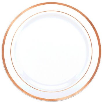 """Premium Plastic White Plates w/ Rose Gold Trim, 7 1/2"""" (20)"""