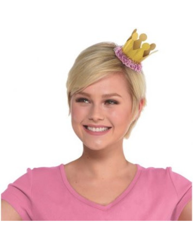 Confetti Fun Mini Crown Hair Clip - Gold, Prismatic